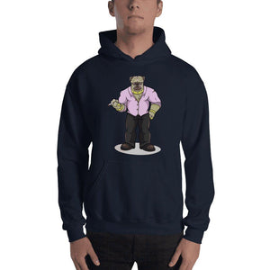 "Pugsy ""The Pug Boss"" Hooded Sweatshirt Hoodies Printful Navy S"