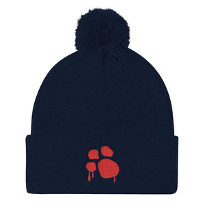 Bloody Paw Pom Pom Knit Cap Hats Printful Navy