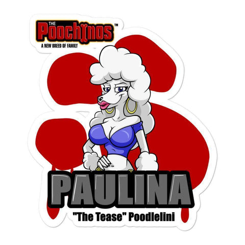 Image of Paulina Poodlelini Bloody Paw Sticker - Dog Mafia Gear