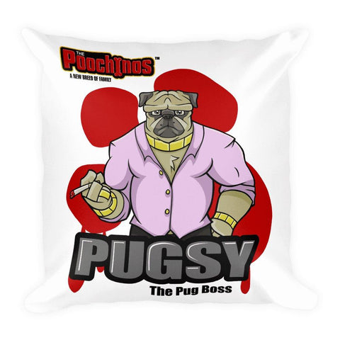 "Image of Pugsy ""The Pug Boss"" Bloody Paw Basic Pillow Pillows Printful Default Title"