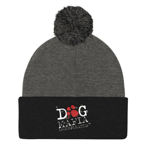 Dog Mafia Inc Pom Pom Knit Cap Hats Printful Dark Heather Grey/ Black