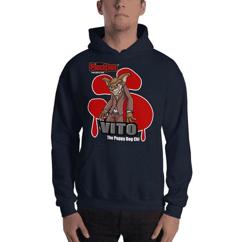 "Image of Vito ""The Puppy Dog"" Bloody Paw Hooded Sweatshirt Hoodies Printful Navy S"