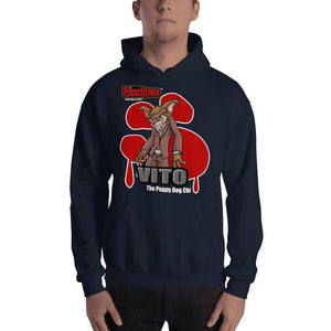 "Vito ""The Puppy Dog"" Bloody Paw Hooded Sweatshirt Hoodies Printful Navy S"
