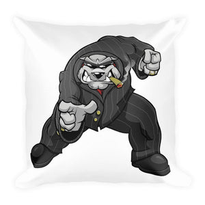 "Bully ""The Boss"" Pointing Basic Pillow Pillows Printful 18×18"