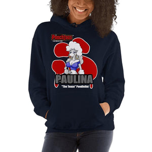 "Paulina ""The Tease"" Bloody Paw Hooded Sweatshirt Hoodies Printful Navy S"