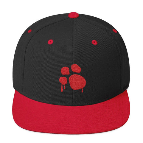 Bloody Paw Snapback Hat Hats Printful Black/ Red
