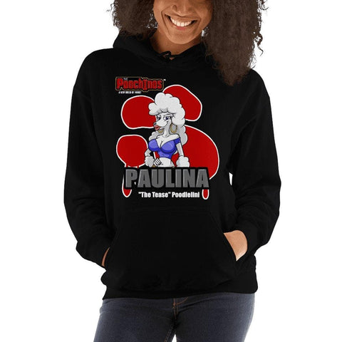 "Paulina ""The Tease"" Bloody Paw Hooded Sweatshirt Hoodies Printful Black S"