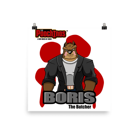 "Image of Boris ""The Butcher"" Bloody Paw Poster - Dog Mafia Gear"