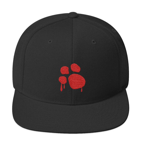 Image of Bloody Paw Snapback Hat Hats Printful Black