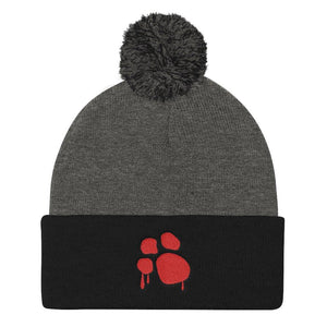 Bloody Paw Pom Pom Knit Cap Hats Printful Dark Heather Grey/ Black