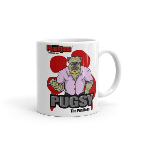 "Image of Pugsy ""The Pug Boss"" Bloody Paw Mug Mugs Printful 11oz"