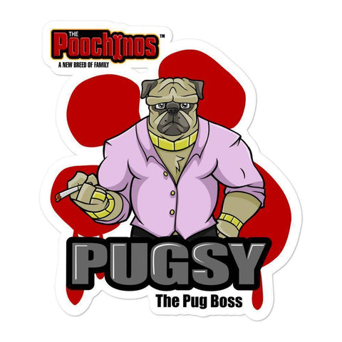 "Image of Pugsy ""The Pug Boss"" Bloody Paw Sticker Stickers Printful 5.5x5.5"