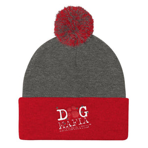 Dog Mafia Inc Pom Pom Knit Cap Hats Printful Dark Heather Grey/ Red