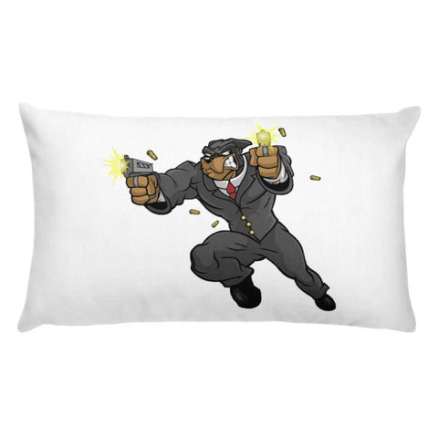 "Image of Tony ""The Rott"" Jumping Guns Basic Pillow Pillows Printful 20×12"