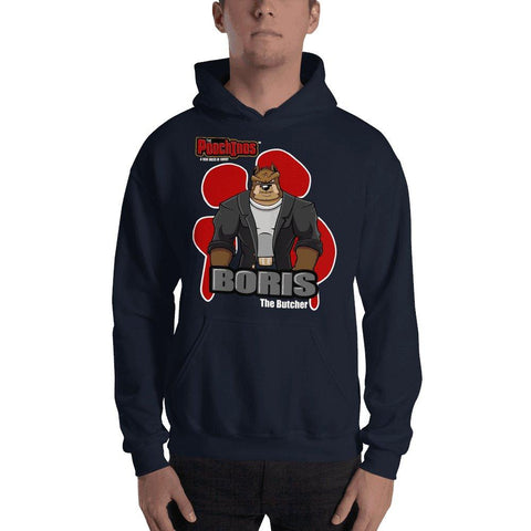 "Boris ""The Butcher"" Bloody Paw Hooded Sweatshirt Hoodies Printful Navy S"