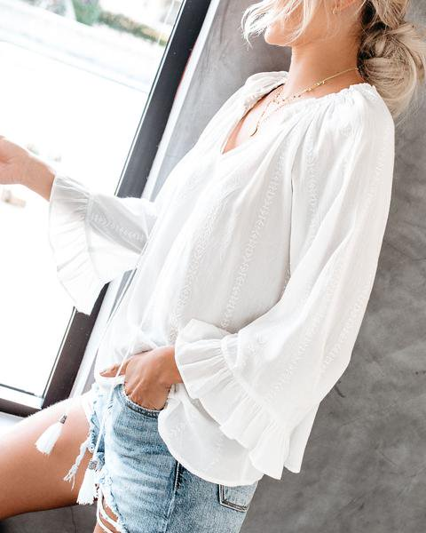 V Neck Cotton Long Sleeve Shirts & Tops