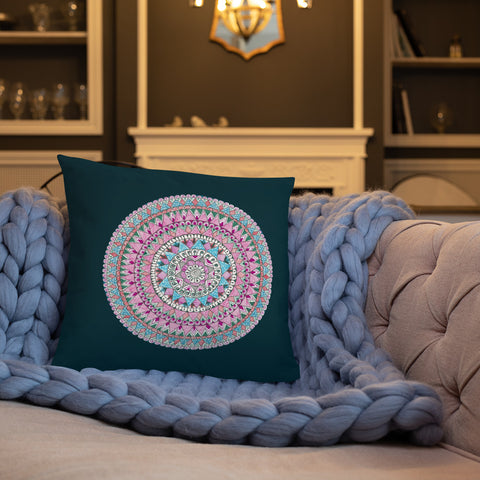 Multicolored Mandala Throw Pillow