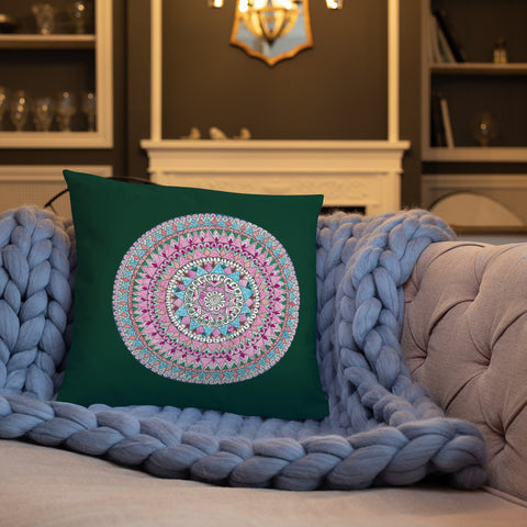 Multicolored Mandala Dark Green Throw Pillow
