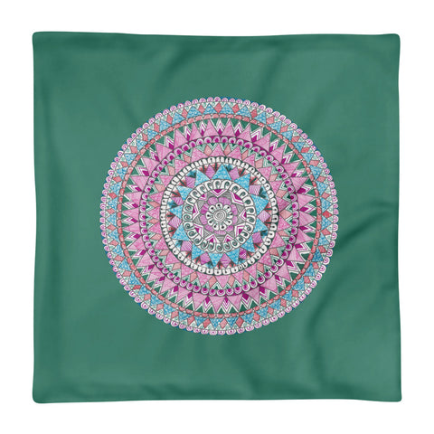 Multicolored Zentangle Mandala Light Green Pillow Case