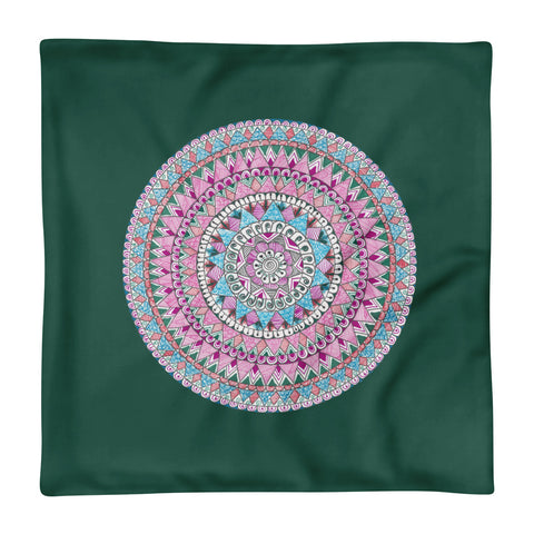 Multicolored Zentangle Mandala Forest Green Pillow Case