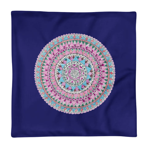 Multicolored Zentangle Mandala Royal Blue Pillow Case