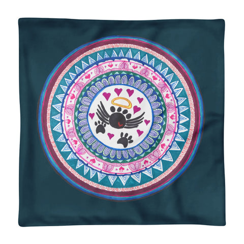 Zentangle Mandala Design Turquoise Pillow Case