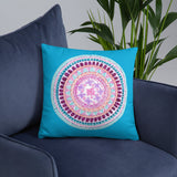Hand Drawn Zentangle Flower Mandala Sky Blue Throw Pillow