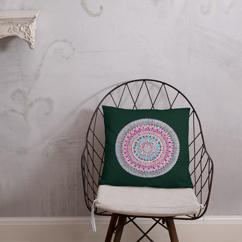 Multicolored Mandala Green Throw Pillow