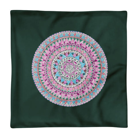 Multicolored Zentangle Mandala Green Pillow Case