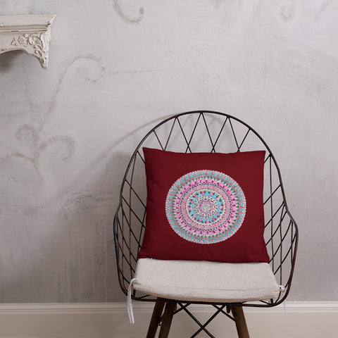 Multicolor Zentangle Mandala Throw Pillow in burnt orange