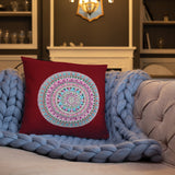 Multicolored Mandala Red Throw Pillow