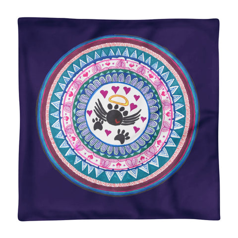 Zentangle Hand Designed Mandala Throw Pillow in Purple