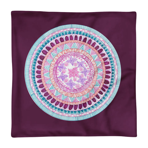 Hand drawn Zentangle Flower-Mandala Violet Pillow Case