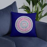 Hand drawn Zentangle Flower Mandala Throw Pillow - Royal Blue