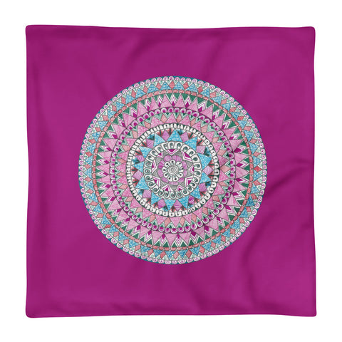 Multicolored Zentangle Mandala Magenta Pillow Case