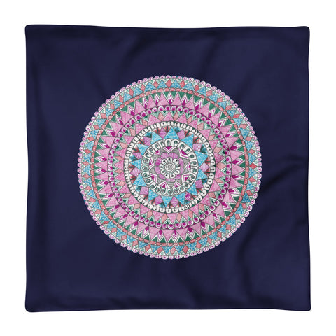 Multicolored Zentangle Mandala Navy Pillow Case