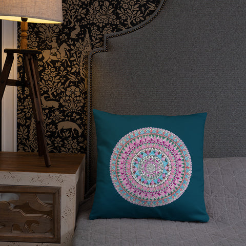 Multicolored Mandala Dark Blue Throw Pillow