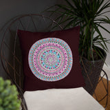 Multicolored Mandala Burgundy Throw Pillow