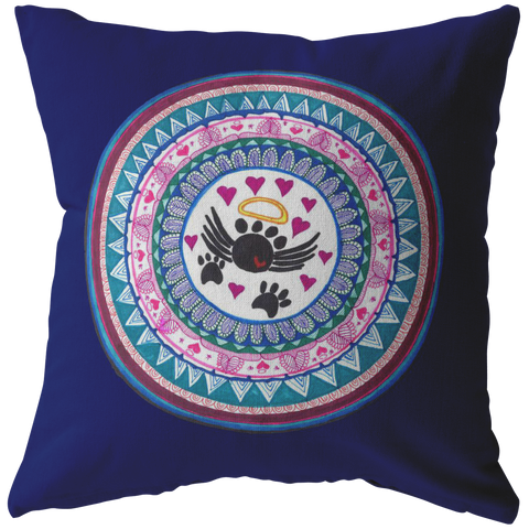 Hand Drawn Zentangle Mandala Royal Blue Throw Pillow