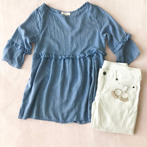 Chambray Ruffle Blouse