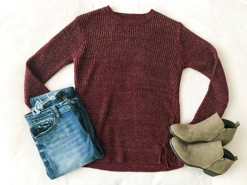 Burgundy Side-Slit Sweater