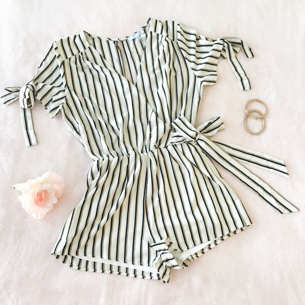 Black & Gold Striped Romper