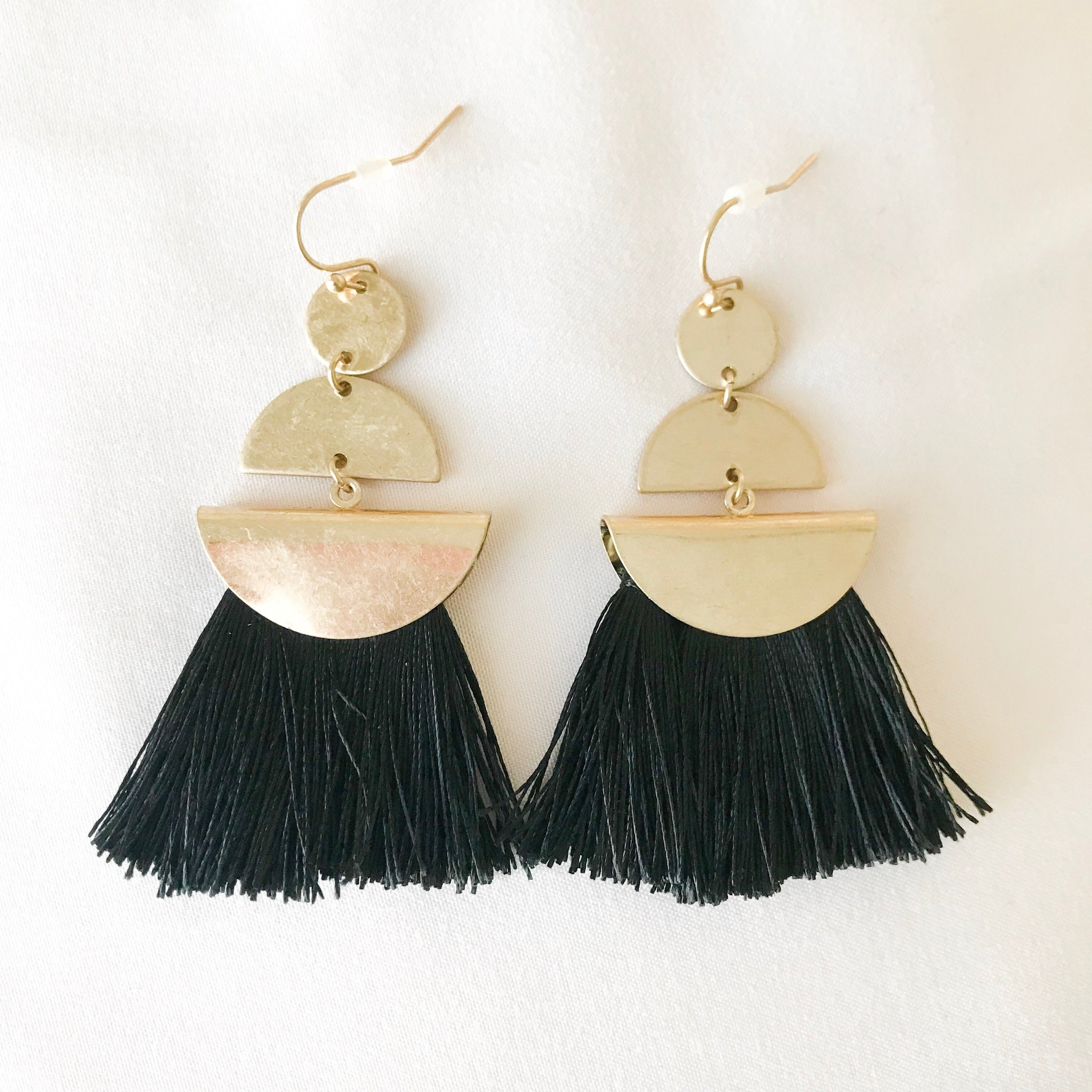 Tiered Semicircle Tassel Earrings