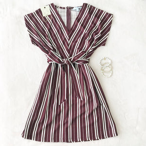 Wine Striped Dress