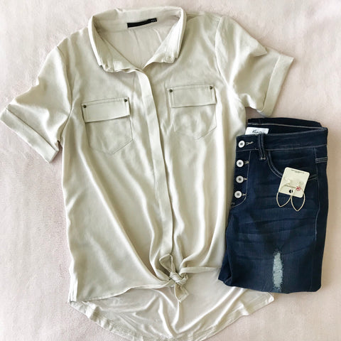 Tied Button-Down Shirt