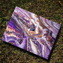 "Load image into Gallery viewer, Amethyst Crystal Abstract Art - 9"" x 12"" - Purple and Copper 1"