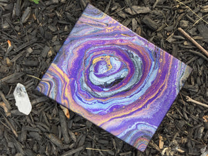"Abstract Fluid Art - 8"" x 10"" - Purple Silver Gold I"