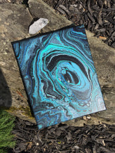 "Load image into Gallery viewer, Abstract Fluid Art - 8"" x 10"" - Blue Black I"