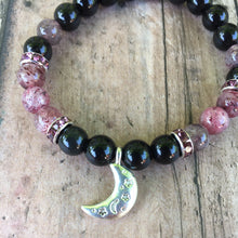 Load image into Gallery viewer, Rainbow Obsidian Moon Bracelet