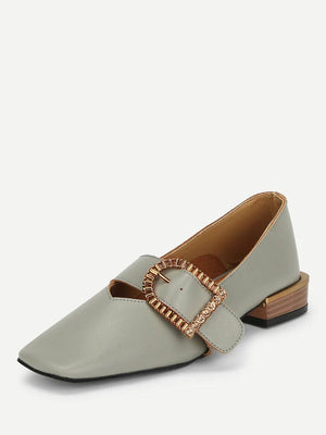 Contrast Buckle Square Toe Flat